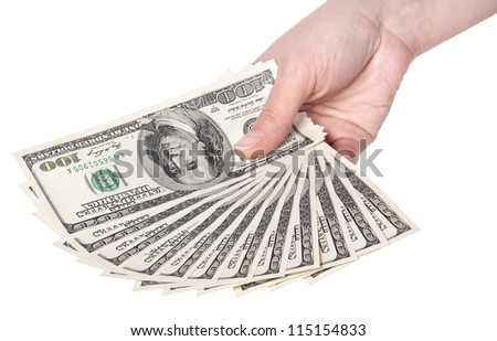 female hands with dollars isolated on a white background - stock photo