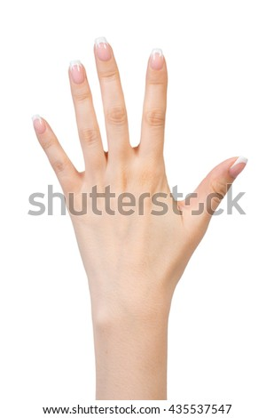 Female hands with french manicure isolated on white background - stock photo