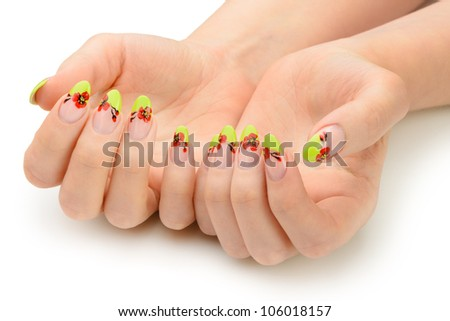 Female hands with manicure closeup. Isolated on white. Drawing red poppy flowers. - stock photo