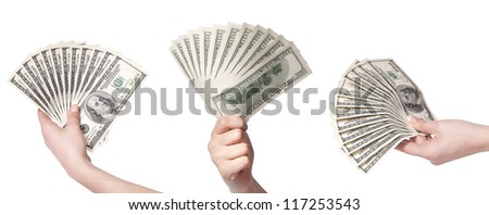 female hands with money set isolated on a white background - stock photo