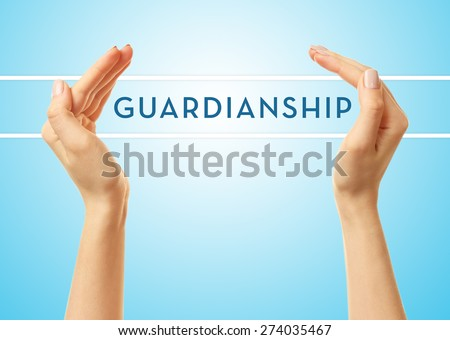 Female hands with word guardianship on blue background - stock photo