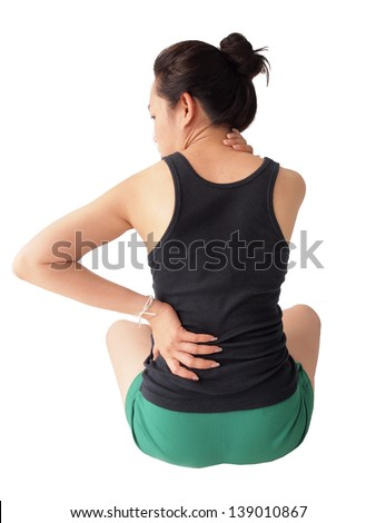 female has backache - stock photo