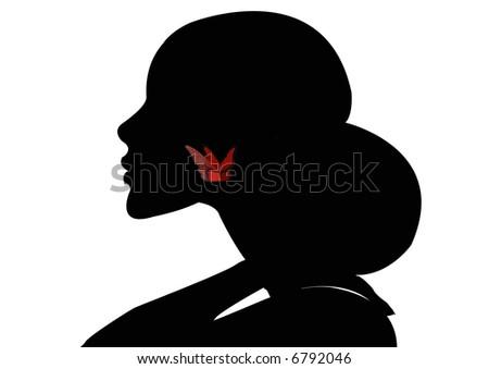 female head wearing butterfly earring - stock photo