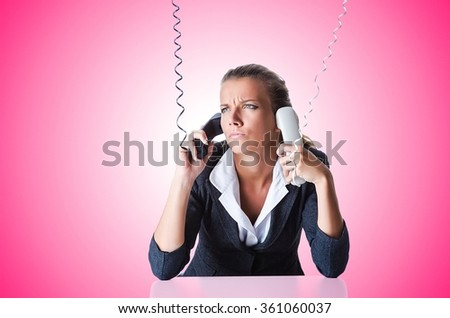 Female helpdesk operator on white - stock photo