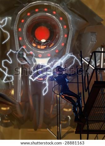 Female hero fights giant steel spider robot (3D render) - stock photo