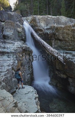 Female Hiker, Lower Myra Falls, Strathcona Provincial Park, Camp - stock photo