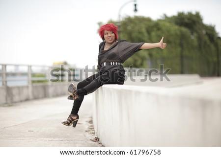 Female hitchhiker - stock photo