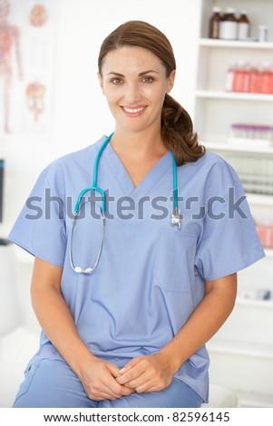 Female hospital doctor - stock photo