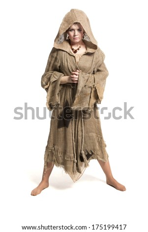 female in costume of savage woman - stock photo