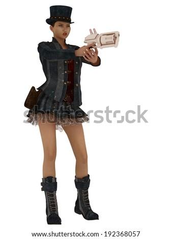 Female in retro steampunk clothing aiming gun - stock photo