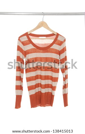 female in stripy shirt dress isolated on hanging - stock photo