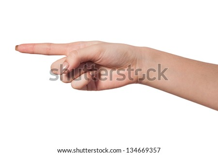 Female index finger isoalted on a white background - stock photo