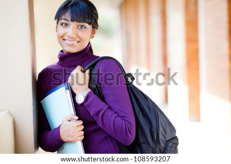 female indian college student on campus - stock photo