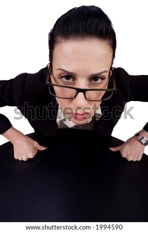 Female leaning in with serious look; - stock photo