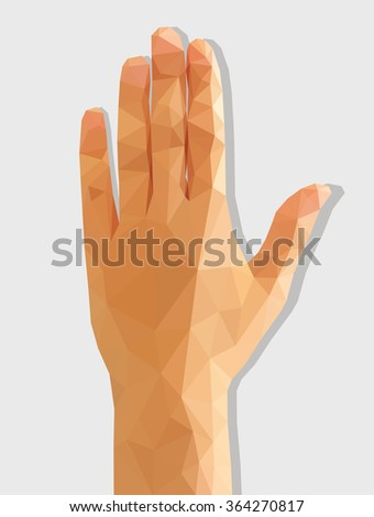 Female left hand rear polygonal low poly isolated - stock photo