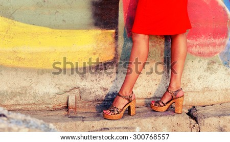 Female legs in heels - stock photo