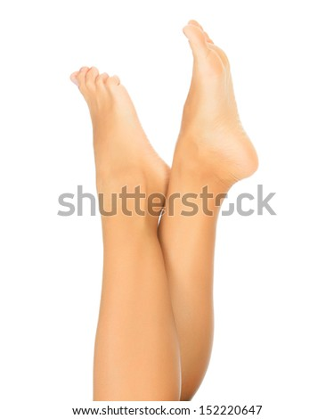 Female legs on the white. Copyspace.  - stock photo