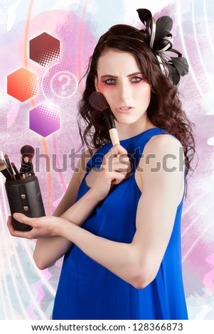 Female Makeup Artist Thinking With Make-up Brush Set And Make Up Color Palate Swatch Background In A Depiction Of A Cosmetics Question - stock photo