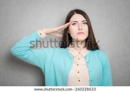 female military salute gesture - stock photo