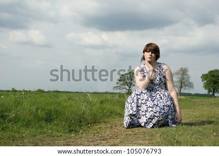 Female Model in an Abondoned Prisoner of War Camp - stock photo