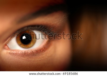 Female model's eye looking into the camera - stock photo