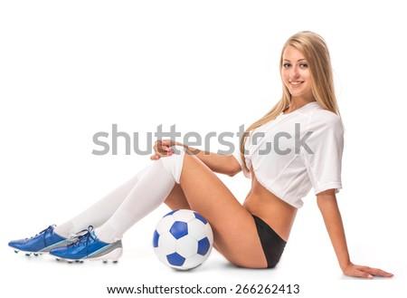 Female model. Soccer. Isolated on the white background. - stock photo
