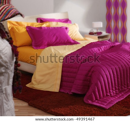 female modern bedroom - stock photo