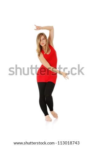 Female modern dancer, isolated on white - stock photo