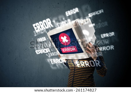 Female monitor head with multiple error signs on the display - stock photo