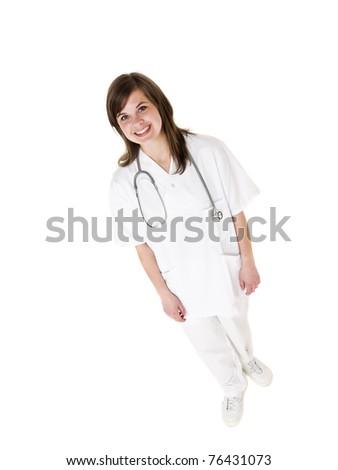 Female Nurse isolated on white background - stock photo