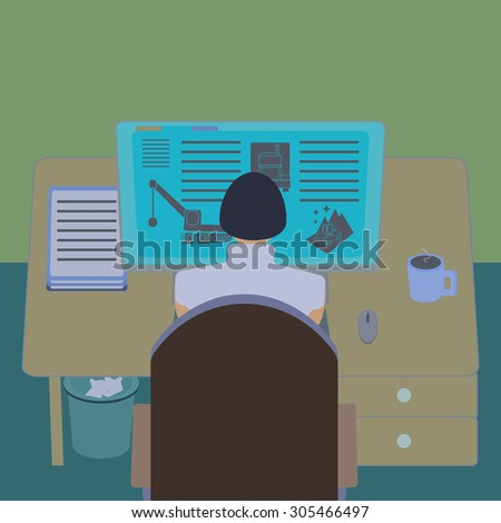 Female office worker at her computer desk. Working room section interior view. IT engineer and web designer workplace. Flat design template  illustration. Raster copy of previously submitted image. - stock photo