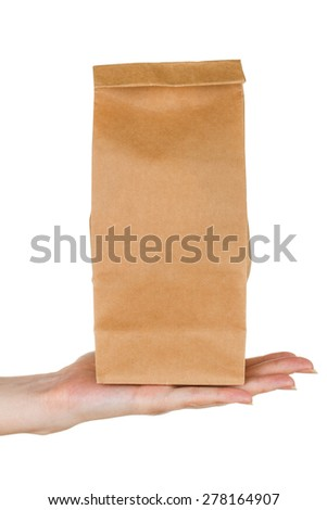 Female palm holding paper bag isolated on white background - stock photo