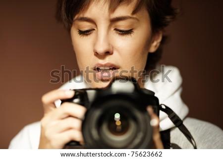 female photographer - stock photo
