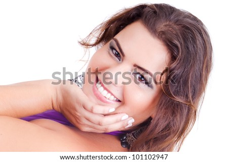 Female Plus size model posing in the studio, face portrait, on white background. The woman is smiling in a happy manner. Good for concept of health, happiness, dieting, obesity, weight loss. - stock photo