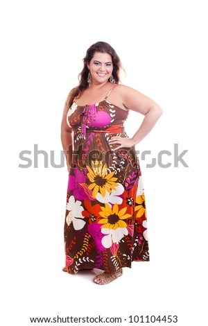 Female Plus size model posing in the studio, full body portrait, on white background. The woman is smiling and happy. Good for concept of health, happiness, dieting, obesity, weight loss. - stock photo