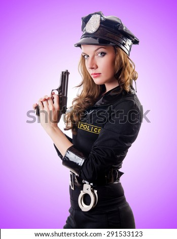 Female police against the gradient  - stock photo