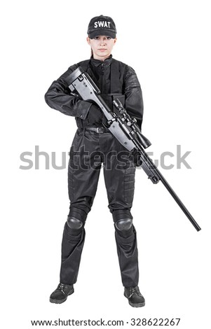 Female police officer SWAT in black uniform with sniper rifle studio shot - stock photo