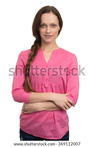 Female Portrait. Woman in pink Clothing isolated on white - stock photo