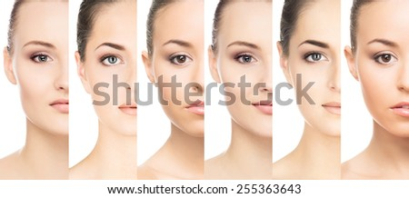 Female portraits collection. Faces of a different women. - stock photo