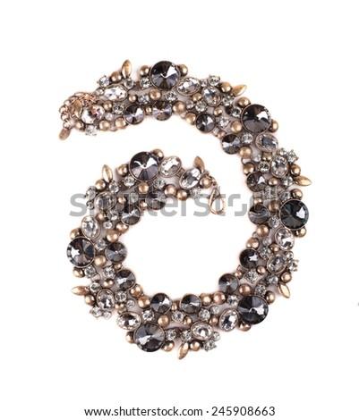 female precious jewelery on white background - stock photo