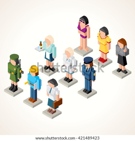 Female Professional People. Icons. Set of 3D Isometric Figures of Businesswoman, Waiter, Model, Soldier, Pharmacologist, Engineer, Office Girl and Clerk. - stock photo