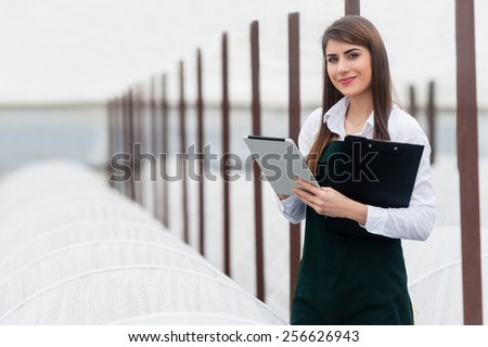 Female researcher technician studying with a tablet and clipboard, dressed in office clothes,office shirt and apron in all withe greenhouse. - stock photo