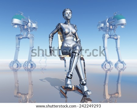 Female Robot on a Robot Planet Computer generated 3D illustration - stock photo