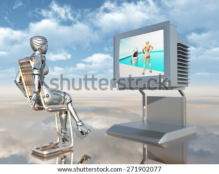 Female robot watching TV Computer generated 3D illustration - stock photo