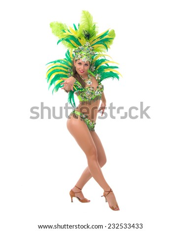 Female samba dancer wearing colorful costume over white background - stock photo
