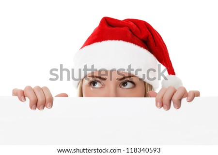 Female santa holding a christmas white card with a space for your message - isolated on a white background - stock photo