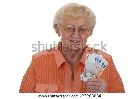 Female senior money - isolated on white background - stock photo