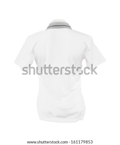 female shirt template (back side) on the mannequin on white background (with clipping path) - stock photo