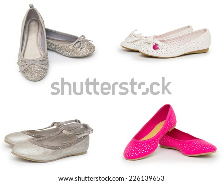 female shoes collection isolated on white background - stock photo