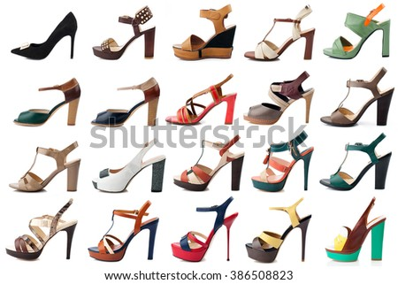 Female shoes collection on white background.Side view. - stock photo